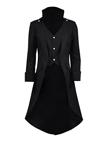 Very Last Shop Mens Gothic Tailcoat Jacket Black Steampunk Victorian Long Coat Halloween Costume (US Men-XXL, Black) -