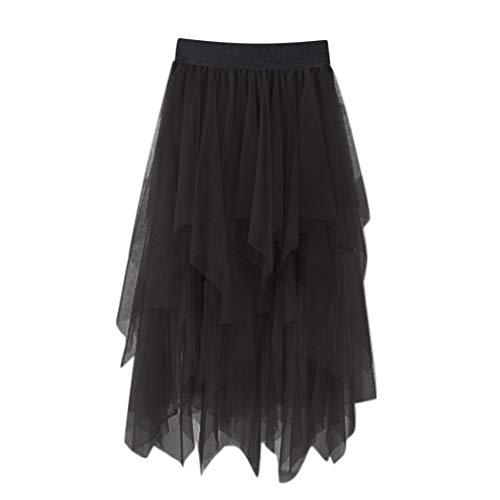 Sanyyanlsy Women's Gauze Skirt Mesh Layed Irregular Hem Elastic Empire Pleat Skater Ball Gown Long Shirt Prom Party Black
