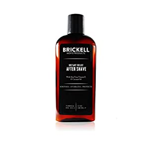 Brickell Men's Instant Relief Aftershave for Men – 4 oz – Natural & Organic - Unscented