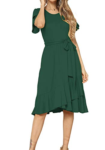 Women Casual Flowy Ruffle Knee Midi Length Work Dress Green M