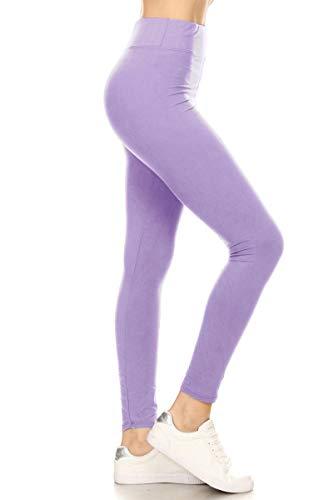 LYR128-LAVENDER Yoga Solid Leggings, One Size