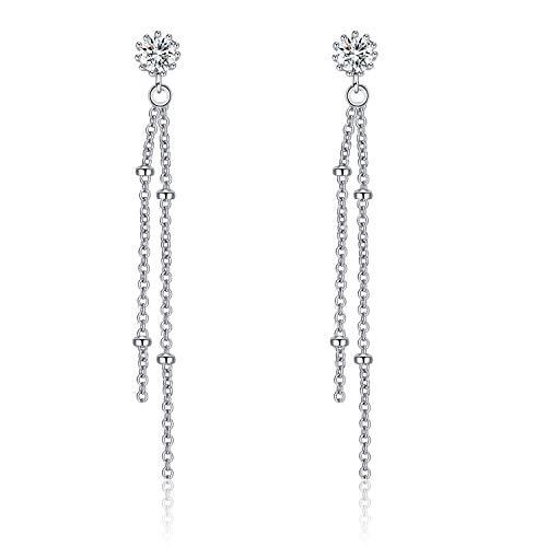 Sterling Silver Tassel Earrings Dangle, Long Chain Earrings Linear String, Stud Drop Earrings for Women Girls (Tassel 2)