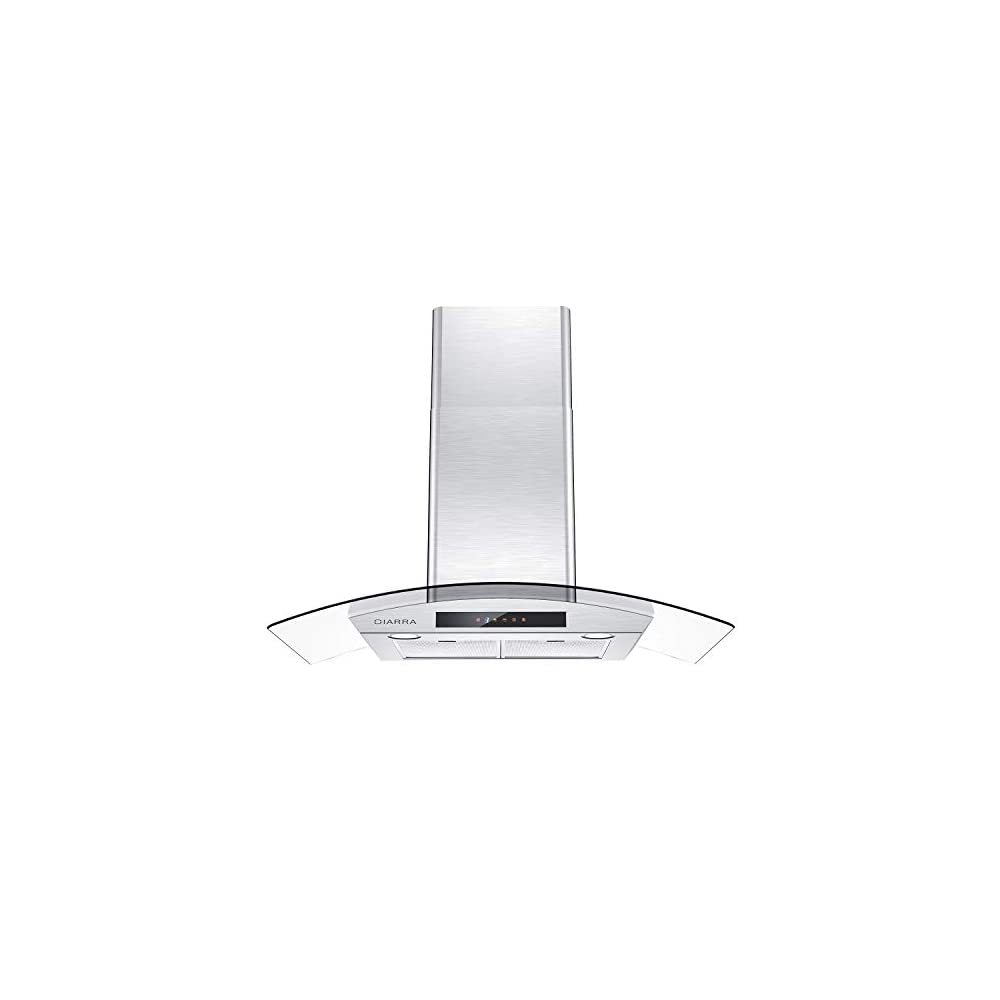 CIARRA CAS90502 Stove Vent Hood, Glass Range Hood 36 inch with 450 CFM, Touch Control Wall Mount Kitchen Hood in…