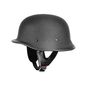 DOT Flat Black German Style Motorcycle Helmet (Size 3XL, XXX-Large)