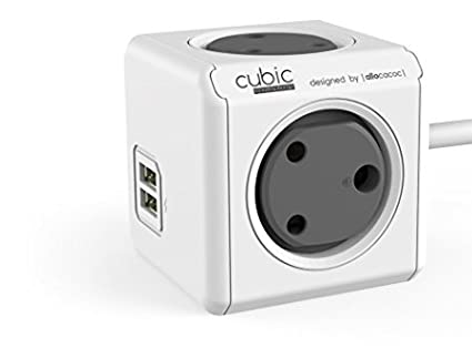 CUBIC Adapter Spike Guard with 4 [India Socket]  Red Dot award Winner Product   These is not PowerBank  Outlet 5V 2.1A Dual USB and 1.5 Metre Extensio
