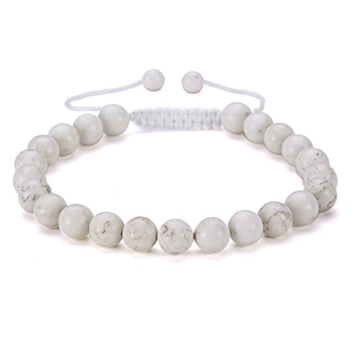 BRCbeads Gemstone Bracelets white Howlite Enhance Color Natural Gemstone Birthstone Healing Power Crystal Beads Handmade 8mm Stretch Macrame Adjustabl…