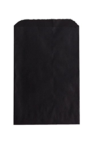 100 Black Paper Bags 6.25 x 9.25 Inches for Merchandise, Art by My Craft Supplies -