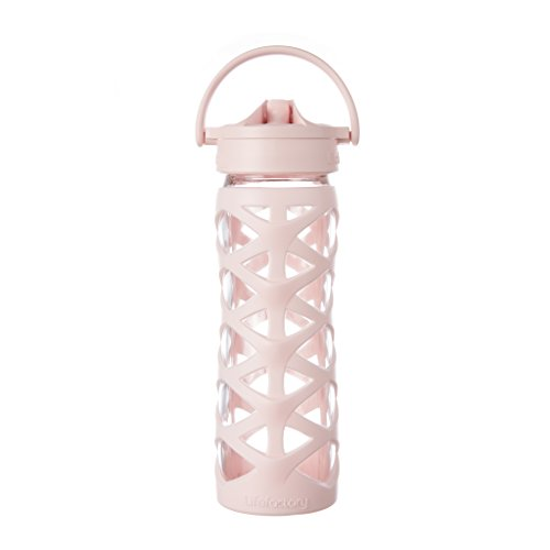 Lifefactory 16-Ounce BPA-Free Glass Water Bottle with Axis Straw Cap and Silicone Sleeve, Cherry Blossom Blossom Cap