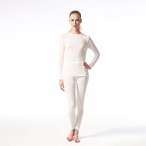Jasmine Silk Damen Modal Thermal Long Johns Elfenbein