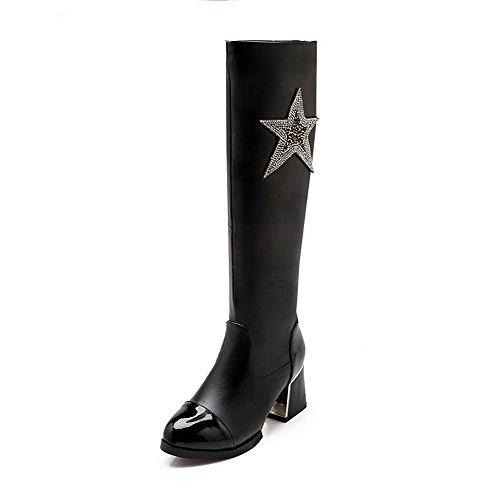 Allhqfashion Women's Blend Materials Closed Round Toe Kitten-Heels Solid Boots Black SAhx7sX
