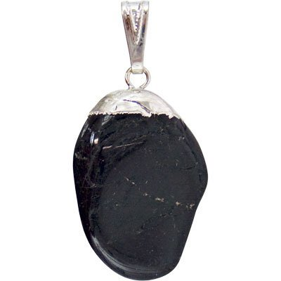 Black Tourmaline Tumbled Stone Pendant