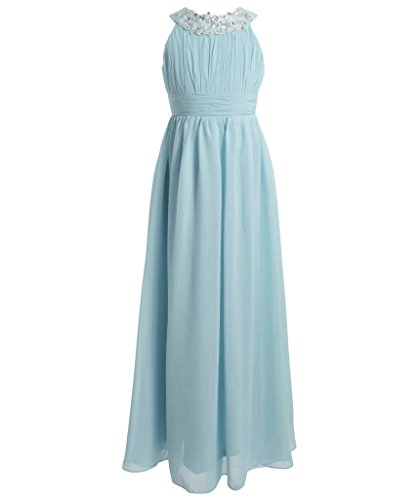FAIRY COUPLE Girl's Round Neckline Ruched Bust Flower Girl Party Dress K0151 10 Light Sky Blue]()