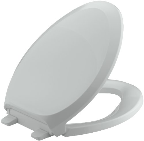 (KOHLER K-4713-95 French Curve Quiet-Close with Grip-Tight Bumpers Elongated Toilet Seat, Ice Grey)