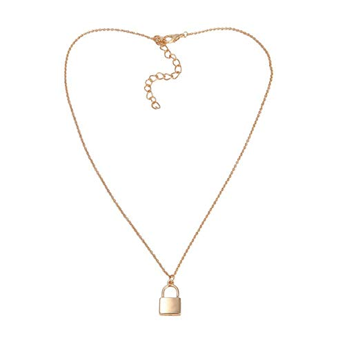 andy coolLock Pendant Padlock Charm Gold Necklace Chain Women Jewelry Gift Durable and Practical ()