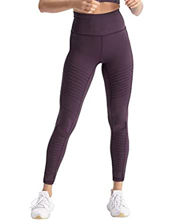 coastal rose Women's High Waist Yoga Pants Ankle Moto Leggings Workout Tights - BlackBerry Cordial - Small