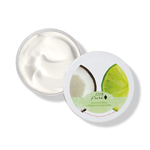 100 PURE Coconut Lime Whipped Body Butter, Body Lotion for Dry Skin, Made with Shea Butter, Cocoa Butter, Moisturizing Body Cream, Natural Lotion – 3.4 oz
