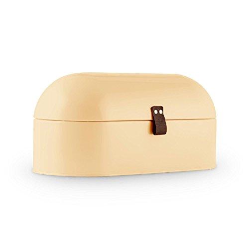 Klarstein Ciabatta Crema 2 Retro Brotbox Design Brotkasten (14,5 L Volumen, Metall-Gehäuse, griffiges Lederband) creme-beige