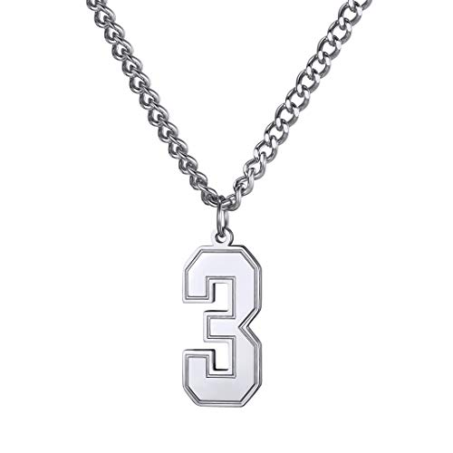 Sports Number Necklace (GoldChic Jewelry Number 3 Necklace Charm Pendant with Curb Chain 22+2