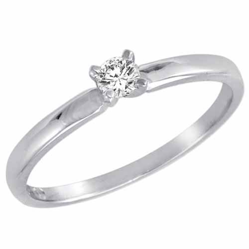 Round Diamond Solitaire Ring in 14K White Gold – Size 6