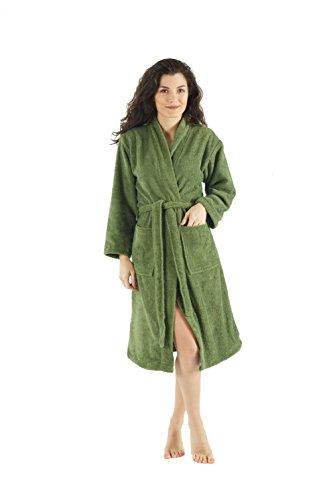 Bagno Milano Womens Terry Robe – 100% Pure Turkish Cotton – Kimono-Style - Green XS-S
