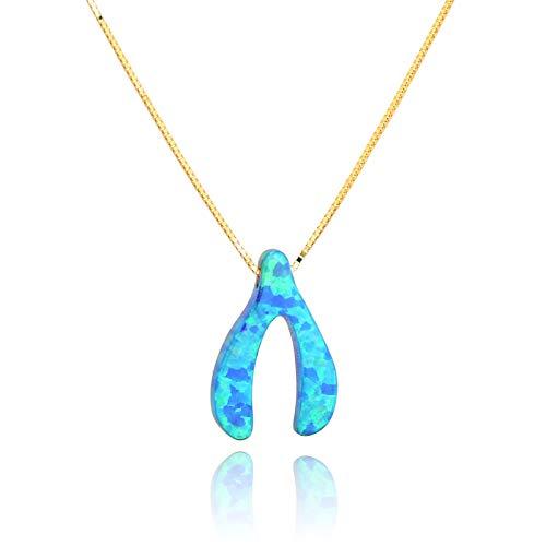 PZ Paz Creations 14k Blue Opal Charm Necklace (Wishbone)