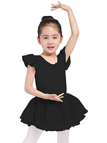 Dancina Toddler Leotard Dress Ruffle Sleeve Full Front Lining 2-3T Black