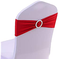 100PCS Stretch Wedding Chair Bands With Buckle Slider Sashes Bow Decorations 10 Colors (Red)