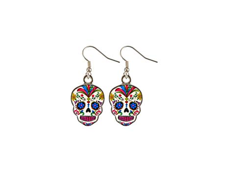 Day Of The Dead Sugar Skull Earrings - Assorted Colors (White Skulls)]()