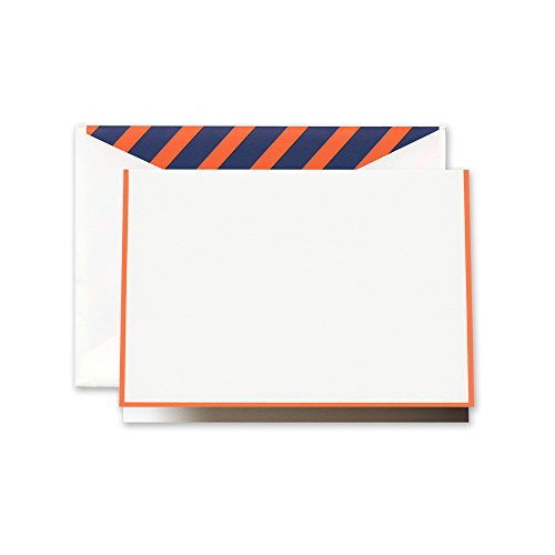 Crane Clementine Bordered Note with Orange and Blue Stripe Lining (CF1616)
