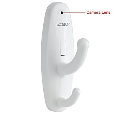 Wiseup™ Mini Hidden Camera Clothes Hook Video Recorder Motion Activated Security DVR with Audio Function (Black/White)