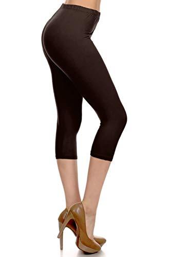 NCPRX128-BROWN Capri Solid Leggings, Plus Size