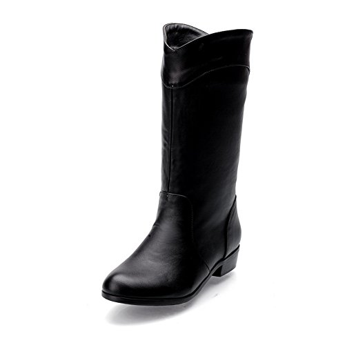 1TO9 Womens Square Heels Round Toe Pull-On Imitated Leather Boots