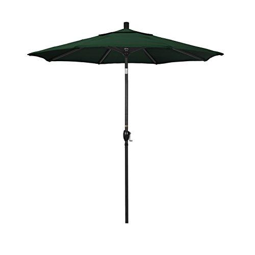 California Umbrella 7.5' Round Aluminum Market Umbrella, Crank Lift, Push Button Tilt, Black Pole, Hunter Green Olefin