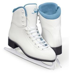 Vinyl Girls Ice Skates - SoftSkate by Jackson GS181 Misses Ice Skates White with Coloured Lining Recreational Level Figure Skating (Blue, 12)