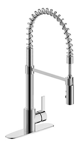 Fontaine by Italia Palais Royal, MFF-PRK3-CP, Modern Contemporary Single Handle, 1 or 3 Hole Pull-Down Spring Coil Kitchen Sink Basin Faucet Fixture Tap in Polished -