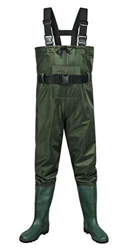 Outee Fishing Waders Bootfoot Chest Waders with Boots Waterproof Lightweight Hunting Wader for Men Women (Army Green,Size 9/Small)