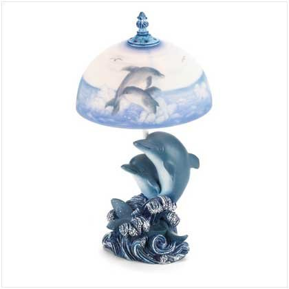 Dancing Dolphins Dolphin Table Lamp Frosted Glass Shade