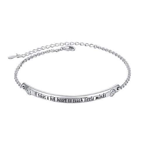FLYOW Sterling Silver It Takes a Big Heart to Teach Little Minds Teacher Appreciation Gifts Bracelet ()
