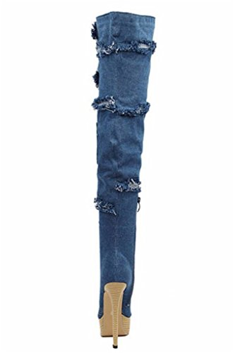 Over 15 Women's Amy Q Thigh Toe Boots The High US Platform Peep 4 High Boots Denim Heel Knee Size xX5aqdw5