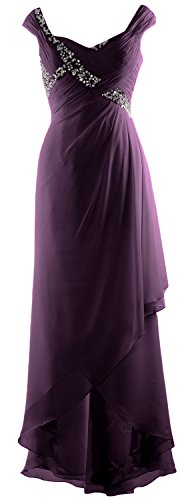 Dress Low Elegant V Mother Neck MACloth High Gown Chiffon Maxi of Formal Plum Bride nFZ8HH