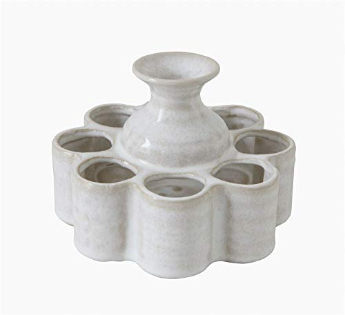 Creative Co-Op White Stoneware Vase with 8 Attached Side Sections (each one will vary)
