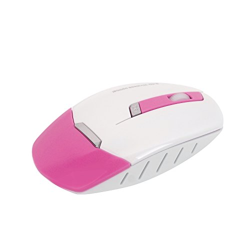Wireless Keyboard and Mouse Combo, 2.4GHz Cordless Cute Round Key Set Smart Power-Saving Whisper-Quiet Slim Combo for Laptop, Computer,TV and Mac (Dark Pink) by wawpi (Image #4)