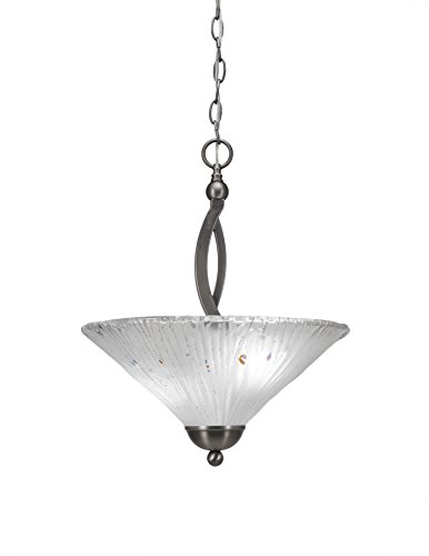 2 Light Uplight Pendant - Toltec Lighting 274-BN-711 Bow Two-Bulb Uplight Pendant Brushed Nickel with Frosted Crystal Glass Shade, 16-Inch
