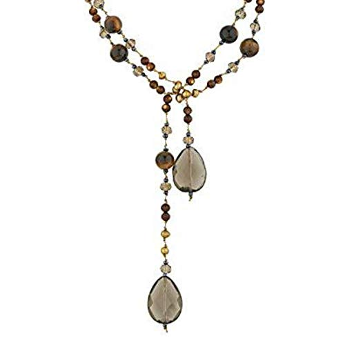 Freshwater Necklace Smoky Quartz - Silk Cord Tiger Eye, Smoky Quartz, Cultured Freshwater Pearl & Crystal Glass Long Necklace, 44