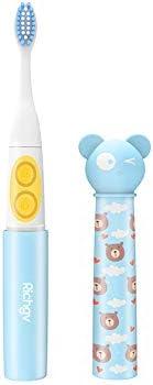 Richgv Kinder Elektrische zahnbürste, Wasserdicht IPX7 Batteriebetriebene Schallzahnbürste mit Smart Timer und 2 Aufsteckbürsten, Kids Electric Toothbrush, Blau