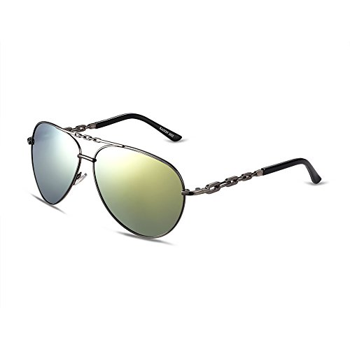 Naivo Women's YJMH012-2 Polarized Aviator Aluminum Relay 58 Gradient - Sunglases Aviator