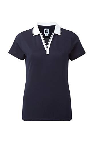 Footjoy WomenŽs Open V-Neck Shirt Polo, Mujer, (Rosa/Blanco ...