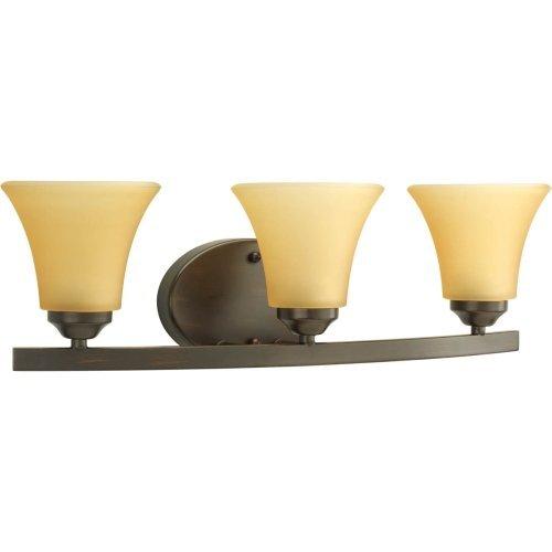 Progress Lighting P2010-20 Adorn Collection 3-Light Vanity Fixture, Antique Bronze