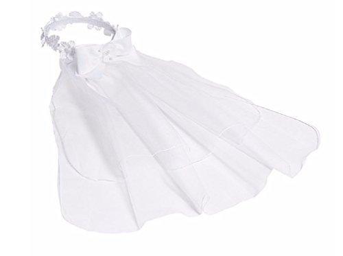 Bonnie Jean Girls Communion Veil, Flower and Pearl Wreath Bun Wrap with Satin Bow