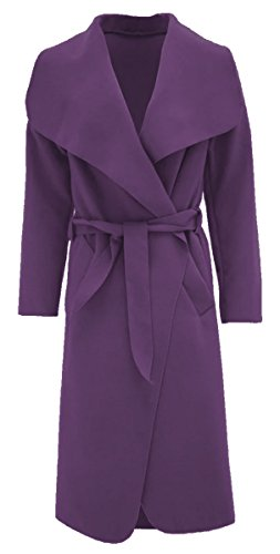 (Thever Women Ladies Celb Long Sleeve Wool Wrapped up Draped Belted Coat Cape (One SZ Plus(12-14), Purple))